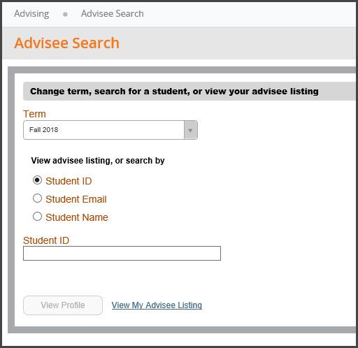 Advisee search menu