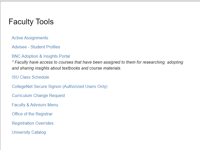 Faculty Tools portlet: see below for details