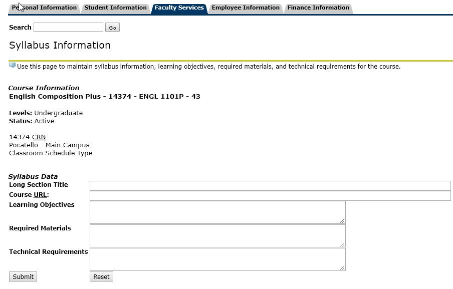 Syllabus Information screen