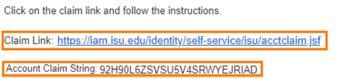 Claim Link and Account Claim String listed