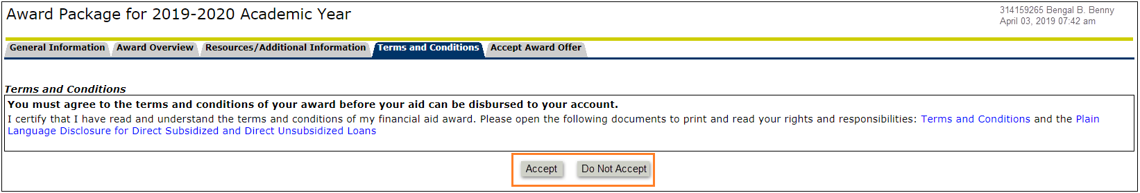 Terms and Conditions Tab highlighting Accept and Do Not Accept