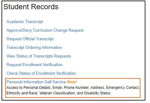 Screenshot of Student Records menu highlighting bottom option