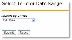 Select Term or Date Range menu