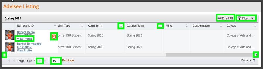 Advisee Listing view profile screenshot