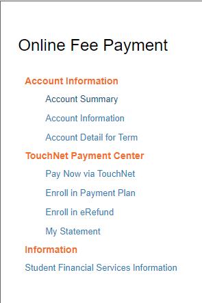 Online Fee Payment portlet