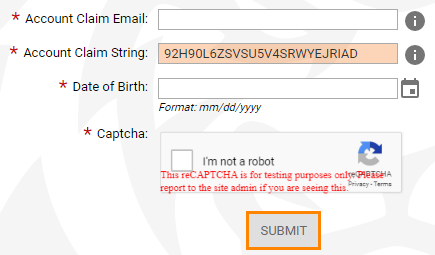 Account Claim Email, Account Claim String, Date of Birth, and Captcha to confirm you are not a robot