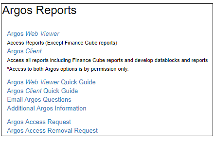 Argos Reports portlet