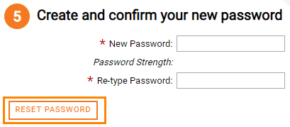 Create and Confirm your new password box, Reset Password box highlighted