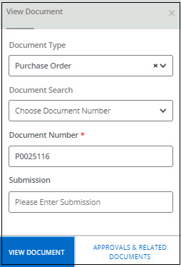 Document type, number, and submission form