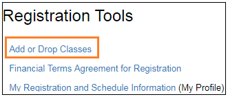 Add or Drop Classes on Registration Tools