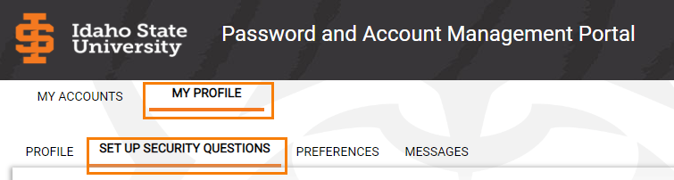 My profile> Set up Security Questions