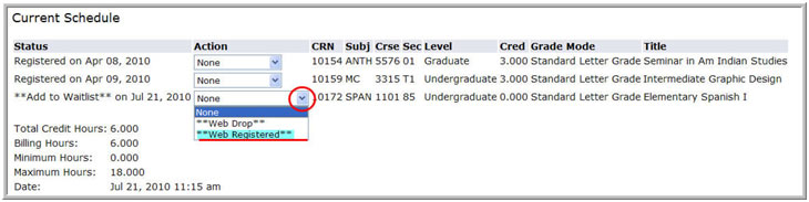 Dropdown menu for a class highlighting Web Registered option