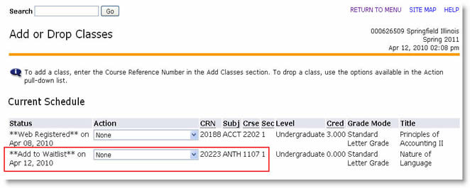 Add to waitlist status on a class