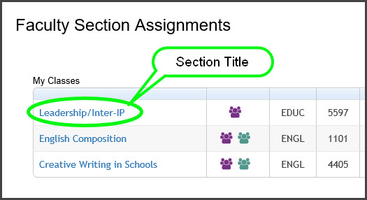 Faculty Section Assignments-My classes
