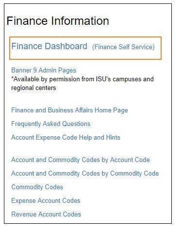 Finance Information: Finance dashboard