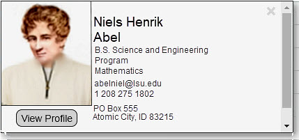 Example of a student profile
