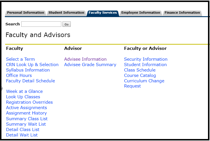 Faculty and advisors page, see down below for info