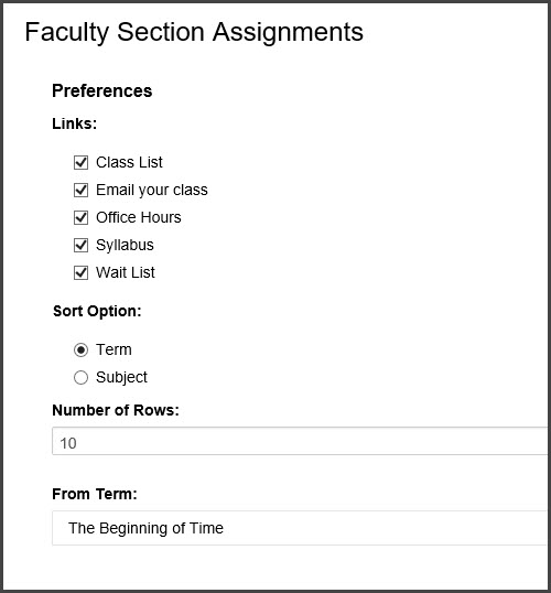 Faculty Section Assignments